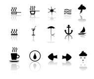 Negro sobre los iconos blancos de Miscillaneous Imágenes de archivo libres de regalías