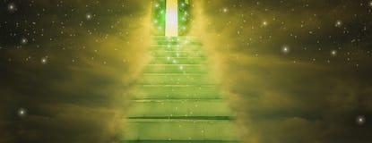 Negro spiritual g?r till himmel med ledande rakt f?r trappa in i d?rr av guden, begrepp av anden och tro i evig sanning, f?r reng royaltyfri bild