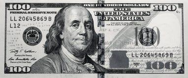 Negro sucio y blanco $100 Bill Foto de archivo