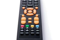 Negro teledirigido del telclado numérico de la TV en el blanco aislado Fotografía de archivo