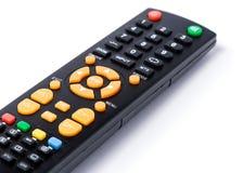 Negro teledirigido del telclado numérico de la TV en el blanco aislado Imagenes de archivo
