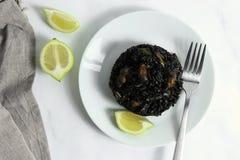 Negro tradizionale del arroz - negre del ² s del arrà - piatto nero del riso, tipico per Valencia immagine stock