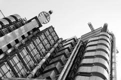 Negro y blanco del edificio de Lloydâs Foto de archivo