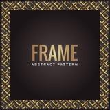 Negro y fondo abstracto geométrico de lujo del marco del oro ilustración del vector