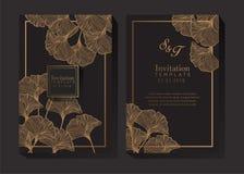 Negro y fondo de la invitación del oro stock de ilustración