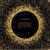 Negro y fondo del oro con el marco del círculo y espacio para el texto Decoración del brillo del vector, polvo de oro grande para ilustración del vector