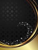 Negro y fondo del oro con los copos de nieve. Foto de archivo