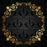 Negro y marco del lujo del oro Foto de archivo