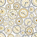 Negro y modelo inconsútil de los relojes de oro stock de ilustración