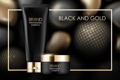 Negro y paquete de los cosméticos del oro en el fondo abstracto, diseño realista stock de ilustración
