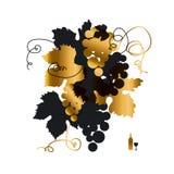 Negro y silueta de la uva del oro stock de ilustración