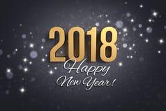 Negro y tarjeta 2018 de felicitación del oro Imagen de archivo libre de regalías