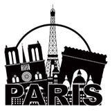 Negro y Whi del círculo de la silueta del horizonte de la ciudad de París Fotografía de archivo