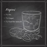 Negroni alcoholic cocktail on black board. Negroni alcoholic cocktail, consisting of Gin, Campari, red vermouth, ice cubes, orange on black board stock illustration
