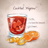 Negroni alcoholic cocktail. Excellent vector illustration, EPS 10 vector illustration