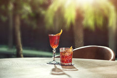 Negroni classic and sbagliato coctails Royalty Free Stock Image
