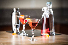 Negroni Cocktails and Mixing Supplies Royalty Free Stock Images