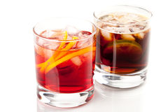 Negroni and Cuba Libre cocktails Royalty Free Stock Photos