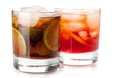 Negroni and Cuba Libre cocktails Royalty Free Stock Photo