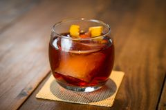 Negroni Drink ZK. The Negroni cocktail is made of one part gin, one part vermouth rosso red, semi-sweet, and one part Campari, garnished with orange peel. It is Royalty Free Stock Photo