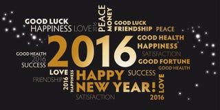 2016 negros y Feliz Año Nuevo de la postal de oro Imagen de archivo libre de regalías