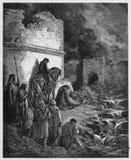 Nehemiah ve las ruinas de las paredes de Jerusalén