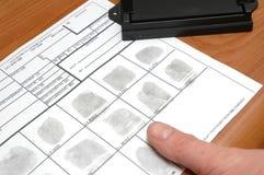 Nehmen der Fingerabdrücke Lizenzfreies Stockbild