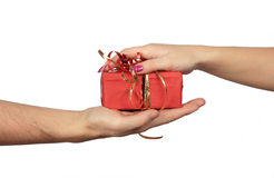Nehmen des Geschenks Stockbild