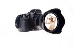 Nehmen einer Portrait-Fotographie Lizenzfreie Stockfotografie