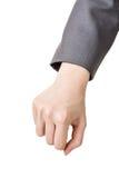 Nehmen oder -zug der Geschäftsfrau Handetwas lizenzfreies stockbild
