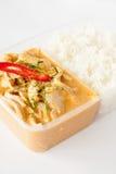 Thailändisch nehmen Sie Nahrung, panang Curry mit Reis weg Stockfotos