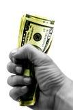 Nehmen Sie das Geld und den Lack-Läufer Stockbild