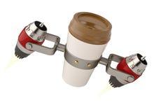 Nehmen Sie Kaffee in der Thermo Schale mit Illustration des Strahltriebwerks 3d heraus stock abbildung