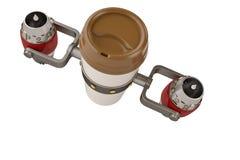 Nehmen Sie Kaffee in der Thermo Schale mit Illustration des Strahltriebwerks 3d heraus lizenzfreie abbildung