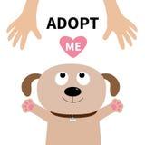 Nehmen Sie mich an Hundegesicht Haustier-Annahme Welpenhündchen, das oben zur menschlichen Hand schaut lizenzfreie abbildung