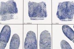 Nehmen Sie von Karte Fingerabdrücke Stockfotos