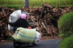 Nehmen von Waren auf einem Motorrad Stockfotos