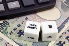 Nehmenprofit japanische Yen Stockfotos
