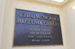 Nehru Memorial Museum Library New Delhi India. Nehru Memorial Museum Library signage in New Delhi India Royalty Free Stock Photo