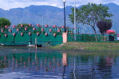 Nehru Park in Dal Lake-2. A beautiful scene of floating pots in a garden in lake Royalty Free Stock Photos