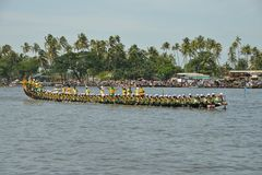 Nehru Trophy Boat Race 2017 in Kerala. A scene from Nehru Trophy Boat Race, a popular Vallam Kali held in the Punnamada backwater near Alappuzha, Kerala, India Royalty Free Stock Photo