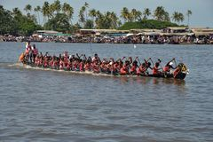 Nehru Trophy Boat Race 2017 in Kerala. A scene from Nehru Trophy Boat Race, a popular Vallam Kali held in the Punnamada backwater near Alappuzha, Kerala, India Royalty Free Stock Image