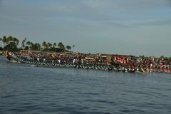 Nehru Trophy Boat Race 2017 in Kerala. A scene from Nehru Trophy Boat Race, a popular Vallam Kali held in the Punnamada backwater near Alappuzha, Kerala, India Stock Photos