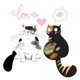 Nei gatti di amore Immagini Stock Libere da Diritti