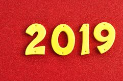 2019 nei numeri gialli Fotografie Stock