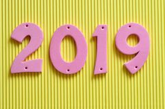 2019 nei numeri rosa Fotografia Stock