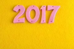 2017 nei numeri rosa Fotografia Stock
