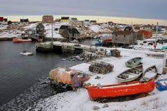 Neige au port Photographie stock libre de droits