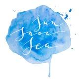Neige bleue du soleil d'aquarelle de calligraphie Photos stock