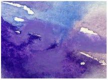 Neige colorée d'hiver de fond d'art d'aquarelle glacée Photo libre de droits